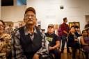 "Artist David Botello, ""Voices Veteranos"" opening night, March 11, 2017."