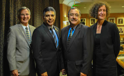 "From left to right: David Rattray, Rep. Tony Cardenas (D-CA 29th), Avelardo Valdez and Lenore Anderson prepared to speak at the panel on ""The Growth of Incarceration Rates in the United States,"" an NRC report at the Los Angeles Chamber of Commerce Thursday."