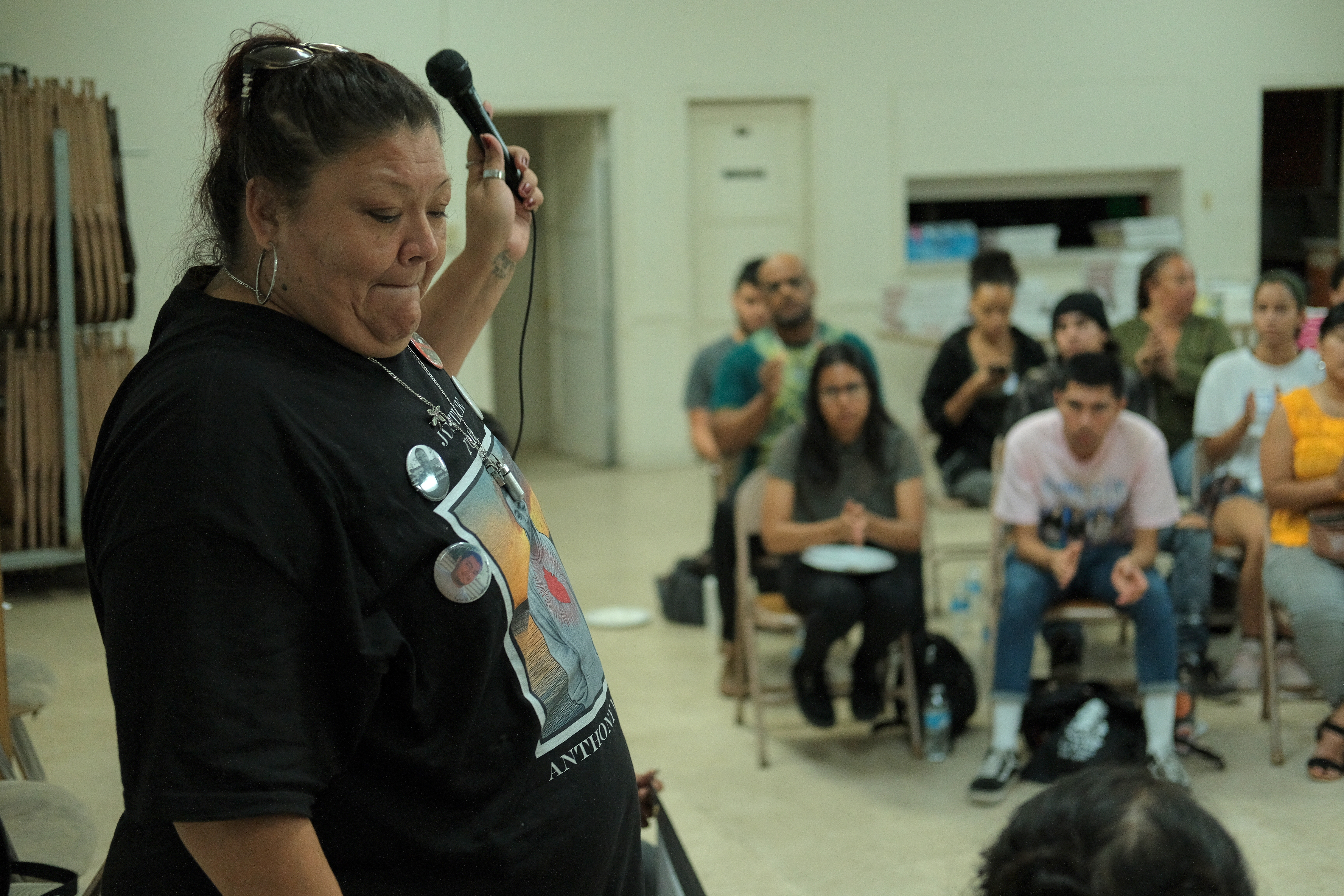 Above: Lisa Vargas wraps up a personal talk at the North Long Beach Methodist Church on August 28, 2019 regarding the deputy-involved shooting of her late son, Anthony Vargas. He, 21, was killed in August 2018. Photo by Michael Lozano.