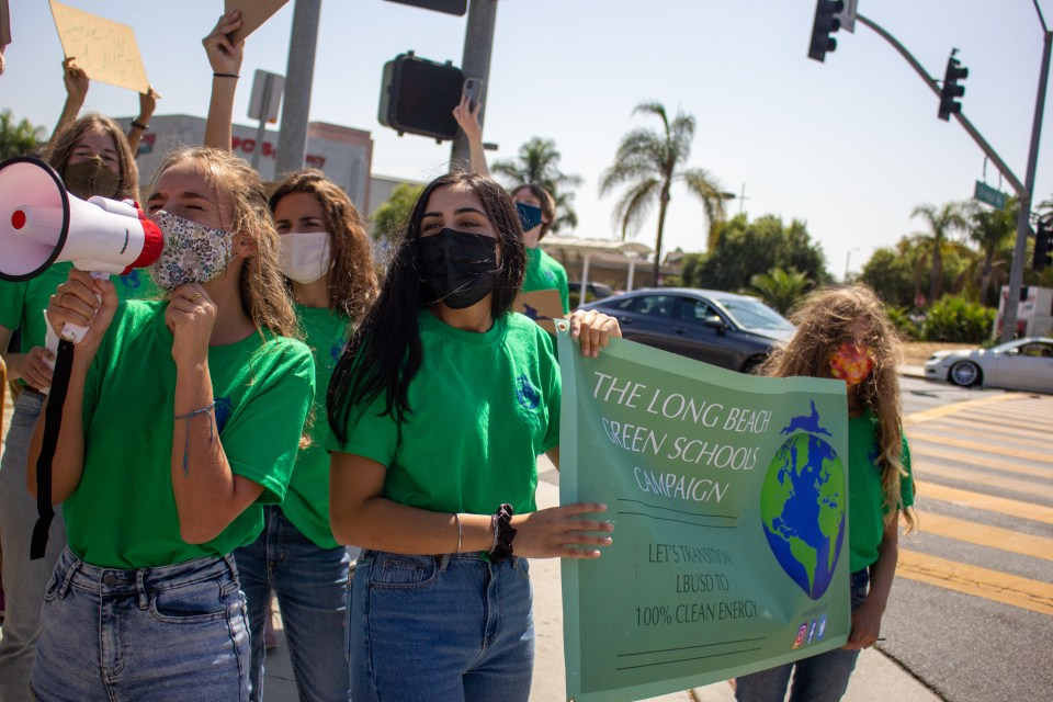 Students wait at a street corner while chanting and holding a sign for the Green Schools Campaign.