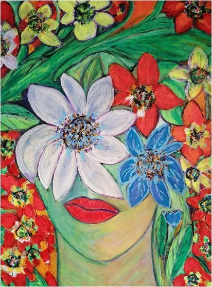 Frau mit Blumenkopf
