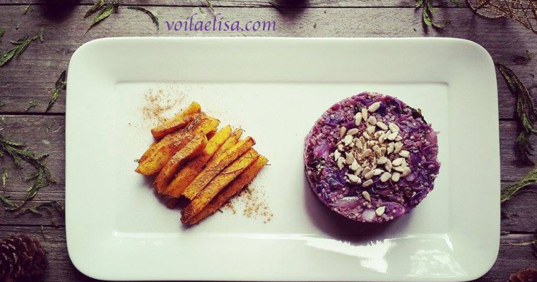 Timbal de quinoa con lombarda y manzana