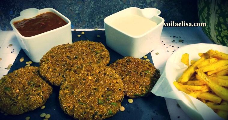 Hamburguesas veganas de lentejas y amaranto con mayonesa cruda