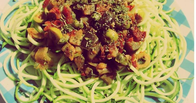 Calabaguetis a la caponata siciliana