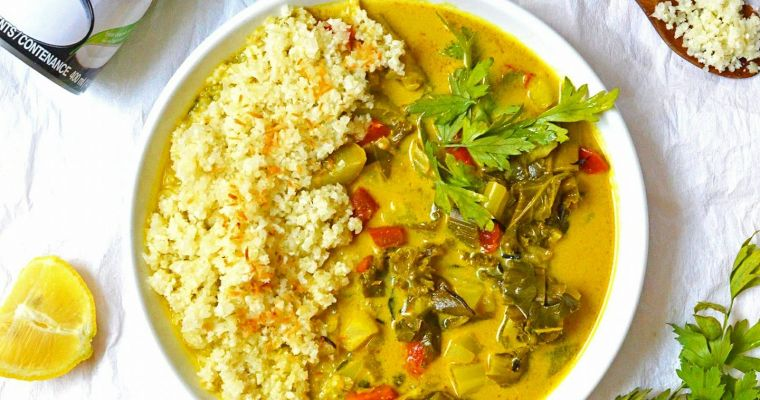 Arroz de coliflor con curry vegetal