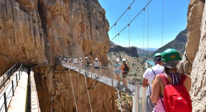 Suspension bridge at Gaitanes Gorge caminito rey