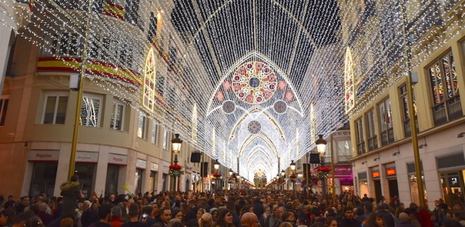 things to see in Malaga in christmas lights