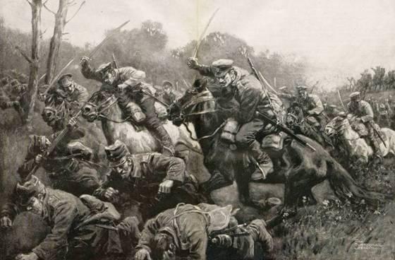 Българската кавалерия преследва разбитите румънски войски в Добруджа. Септември 1916г. Художник - Курт-Шулц Щеглиц.