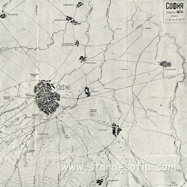 Карта на София към 1878 г. от сайта Стара София