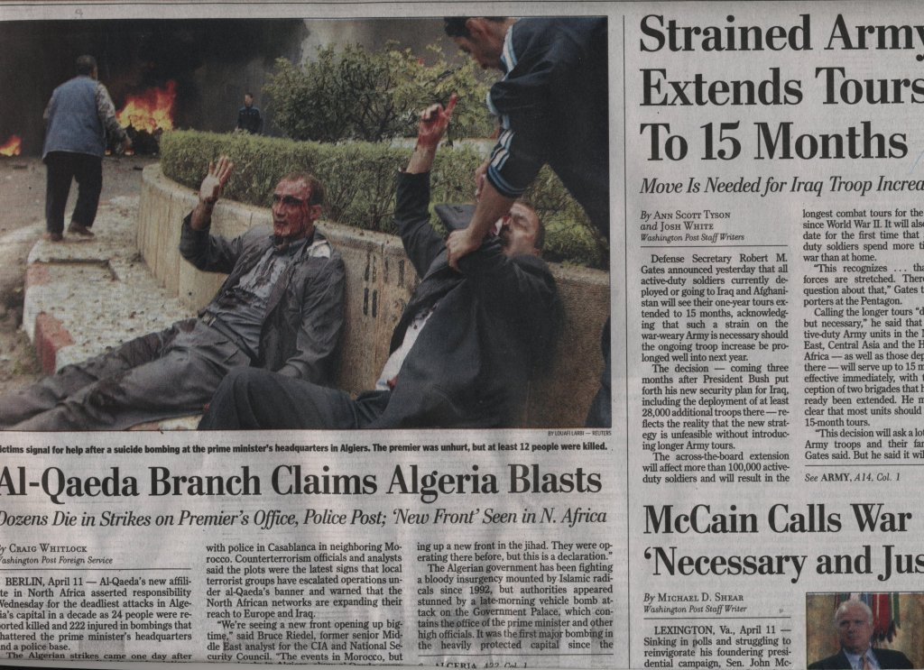 Страница от Washington Post, 12 април 2007 г.