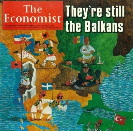 """Корицата на списание The Economist от 20 април 1985 г. с водеща тема """"Те все още са си Балканите""""."""