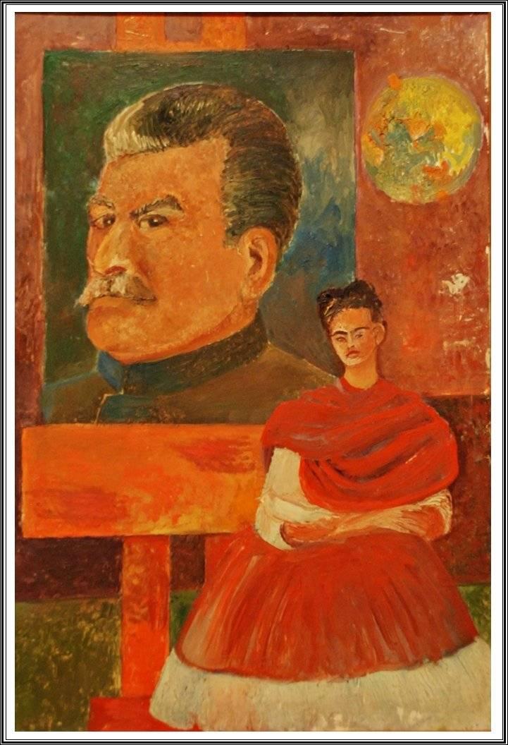 Фрида Кало и Сталин, автопортрет, 1954 г.