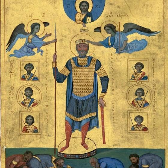 Изображение на император Василий II Българоубиец в триумфални дрехи. Ангели му слагат имперската корона, подчертавайки произхода на властта му.