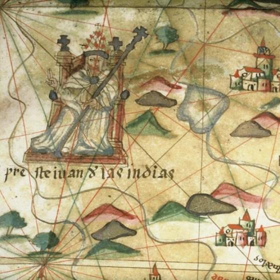 """На илюстрацията: """"Презвитер Йоан от Индиите"""", изображение върху испанска морска карта от XVI век. Вижте по-малко"""