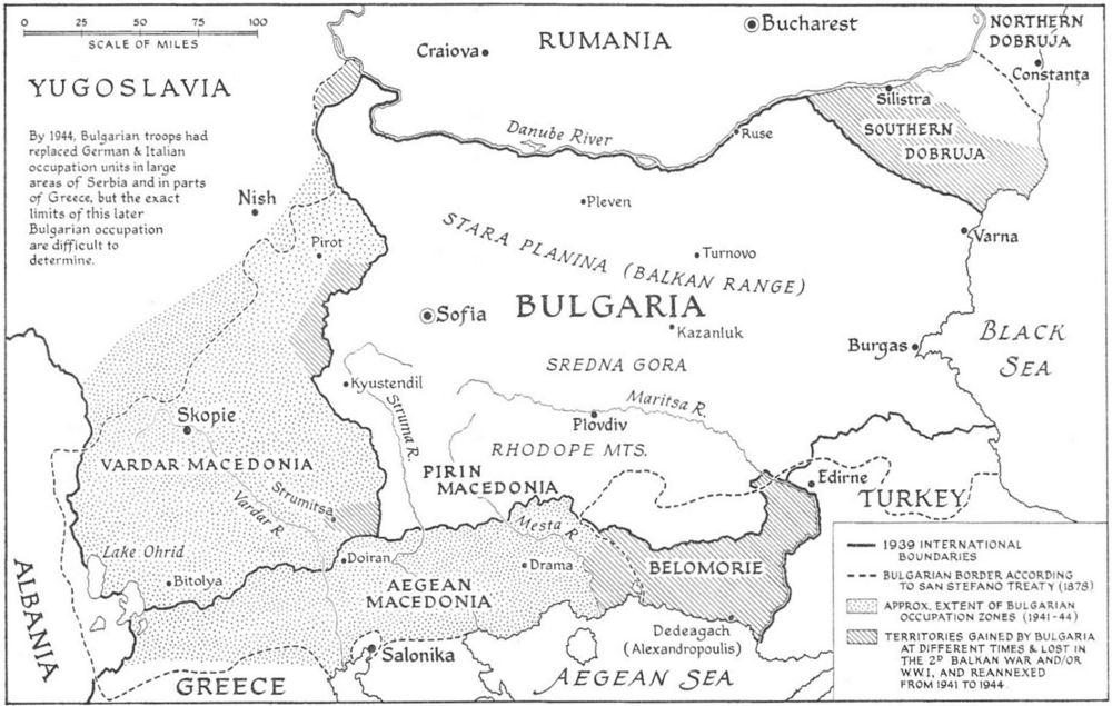 Карта на България по време на Втората световна война, Marshall Lee Miller, Stanford University Press, Stanford, California 1975. Източник