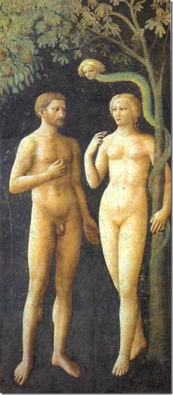 Adam et Eve sous l'arbre de la connaissance au Paradis, Masolino, Chapelle Brancacci, Eglise Santa Maria del Carmine, Florence