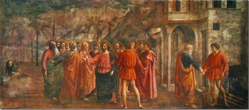Le Tribut de Saint-Pierre, Masaccio (1426-27), fresque, 255 × 598 cm, Chapelle Brancacci, Santa Maria del Carmine, Florence