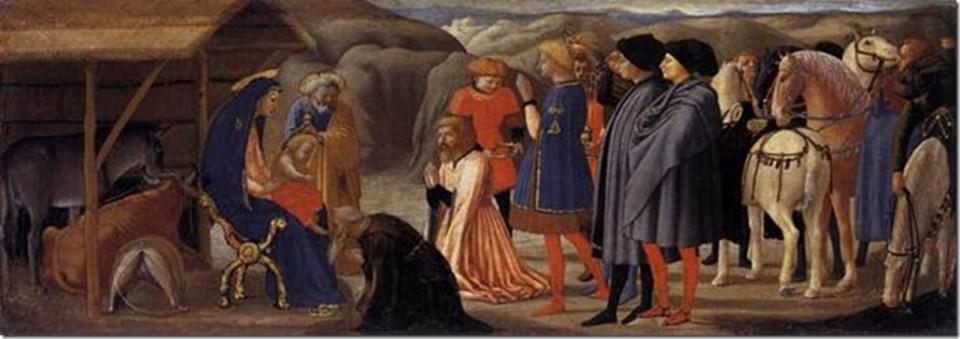 L'Adoration des mages, Polyptyque de Pise, Masaccio, vers 1426 - Tempera sur bois, 21 × 61 cm, Staatliche Museen, Berlin