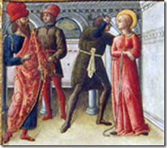 Sainte Lucie a la gorge transpercée par un poignard par Quirizio da Murano
