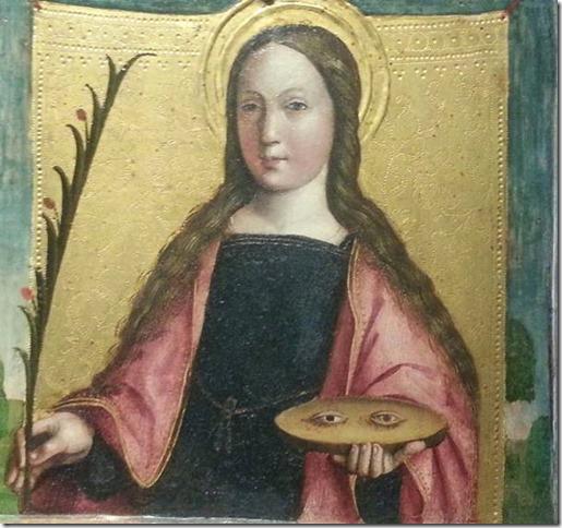 Sainte Lucie, détail de Assunzione della Vergine et santi, Gandolfino da Roreto, Turin