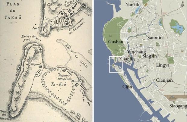 Plan de Kaoshiung à l'époque portugaise (carré blanc du plan suivant)- plan actuel de la ville et des districts. Le système de routes et boulevards très réglés de l'époque japonaise sont encore bien visibles