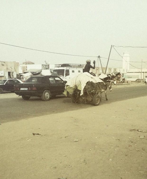 Des voitures et des charrettes se côtoient dans les rues de Rosso