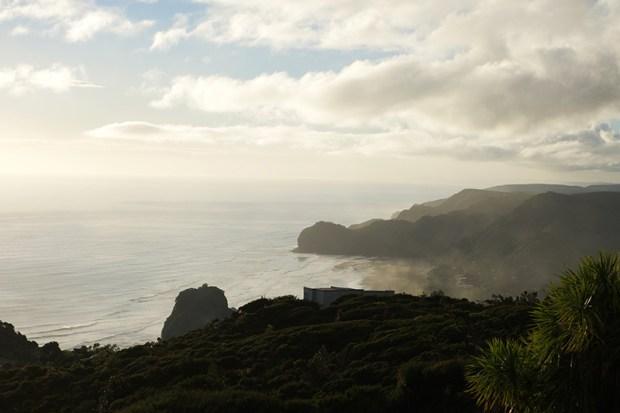 ©  moi La plage depuis Upper Piha avec, en bas à droite, l'essentiel des habitations