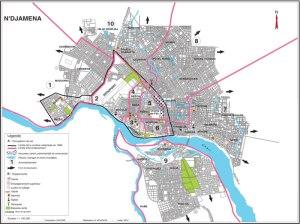 la carte Administrative de la ville de N'Djamena