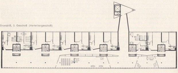 plan 5ème étage (source: Interbau Berlin 1957. Amtlicher Katalog)