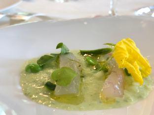 Raïta de concombre, petits pois et menthe, yaourt grec, sashimi de daurade
