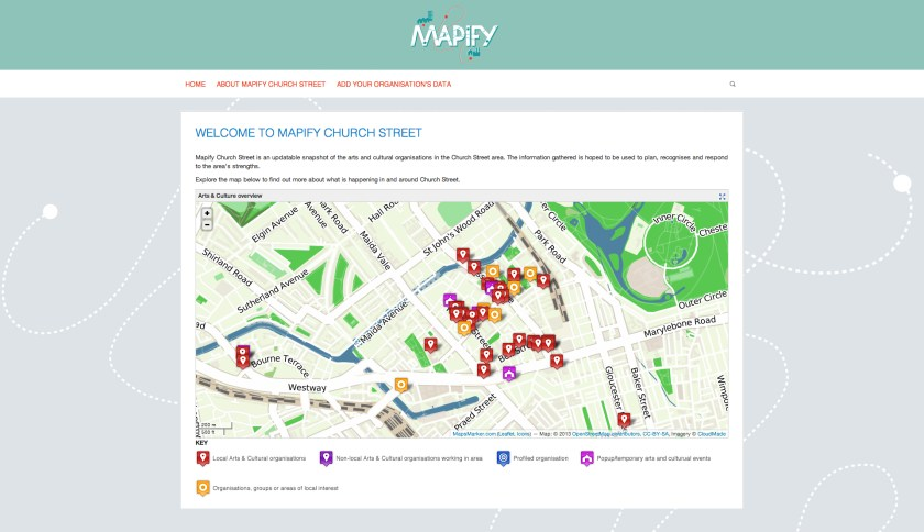 A view of the Mapify homepage