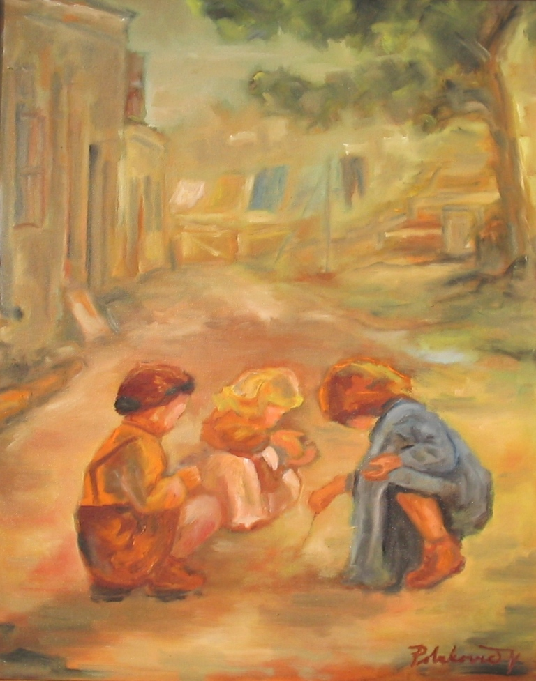 Deti hrajúce sa na dvore