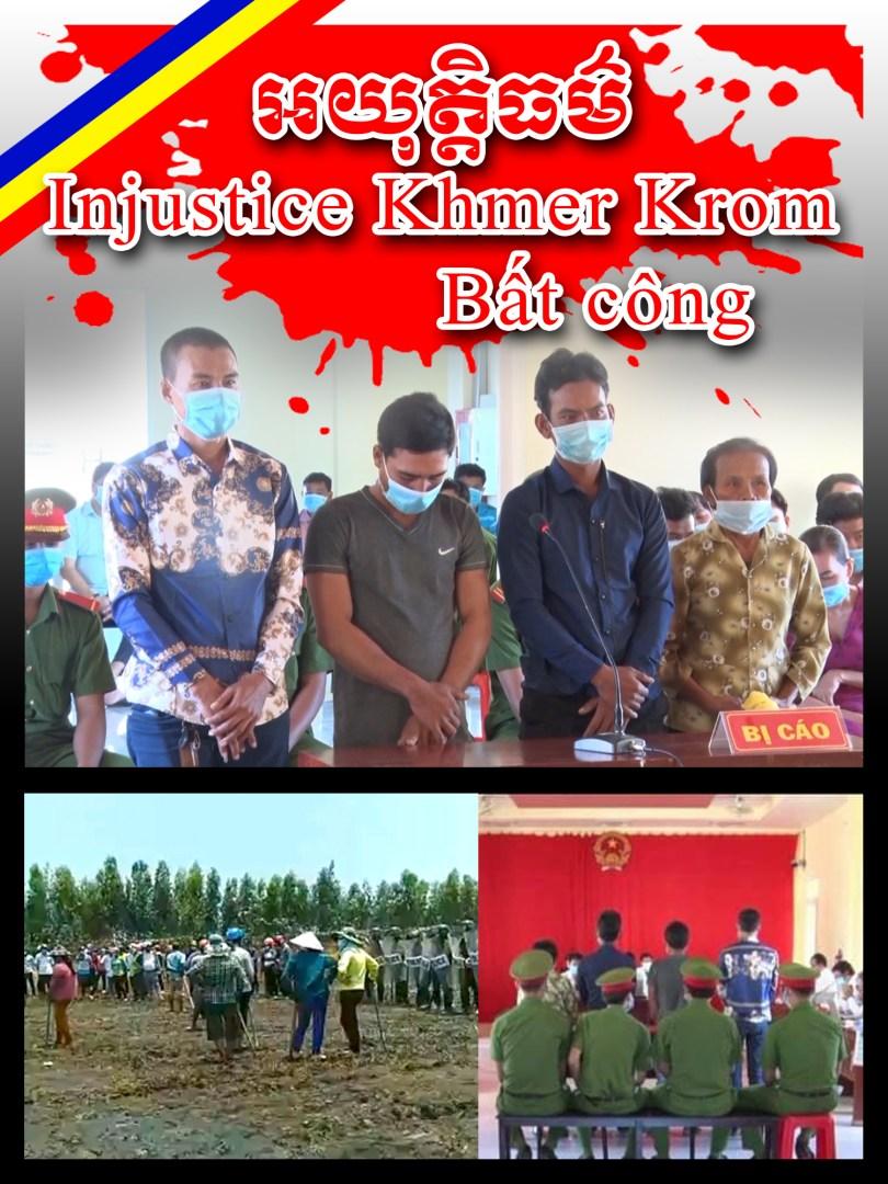 ផ្ទាំងរូបភាព ដែលយុវជន និងពលរដ្ឋខ្មែរក្រោម នៅកម្ពុជា ធ្វើយុទ្ធនាការនៅលើបណ្តាញសង្គម ដើម្បីទាមទារ ឱ្យរដ្ឋាភិបាលវៀតណាមឈប់ធ្វើទុក្ខបុកម្នេញលើកសិករខ្មែរក្រោម ។ រូបៈ Khmer Krom Youth Council (KKYC)