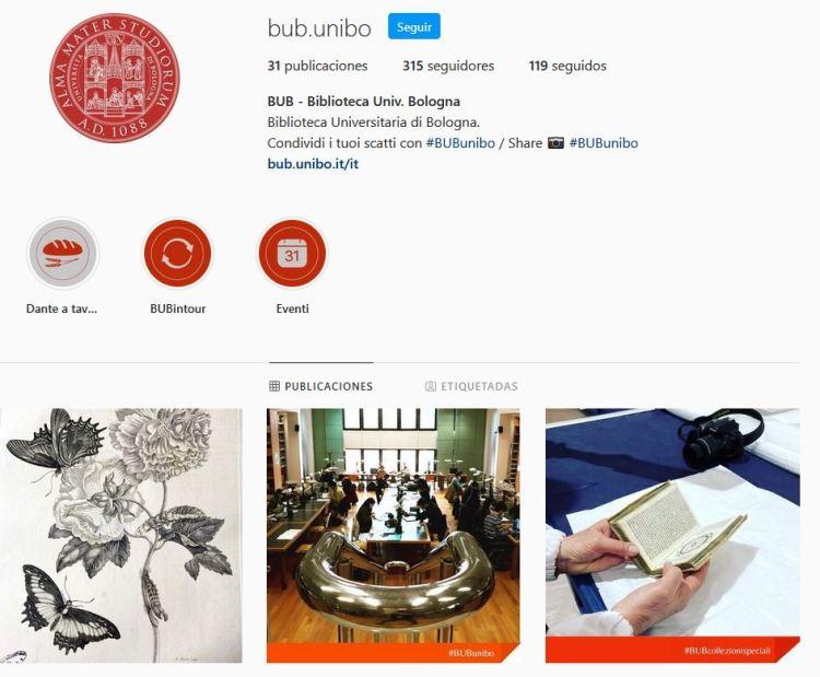 Instagram della Biblioteca universitaria di Bologna.