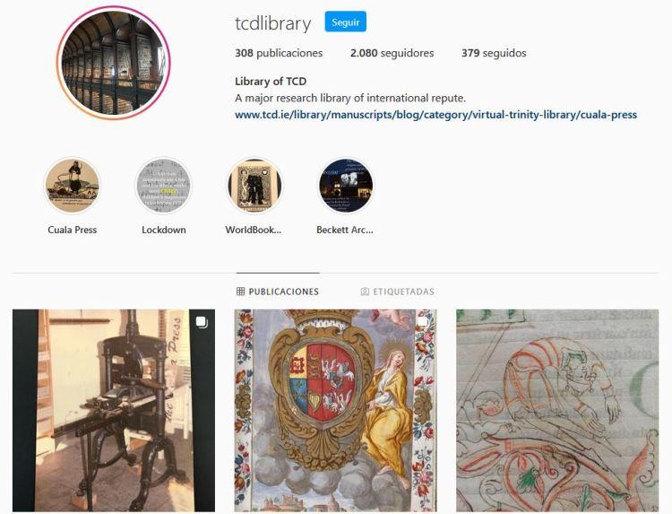 Instagram della biblioteca del Trinity College di Dublino.
