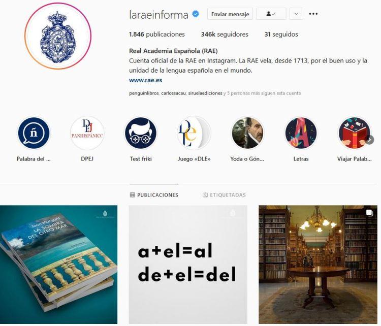 Instagram della Real Academia Española (RAE)