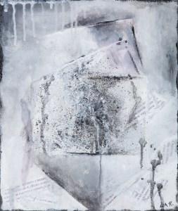 Carrés - 31 x 26 cm - collage textes et acrylique