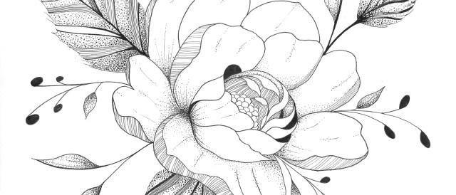 gallianemurmures-paeonia-encre-dotwork