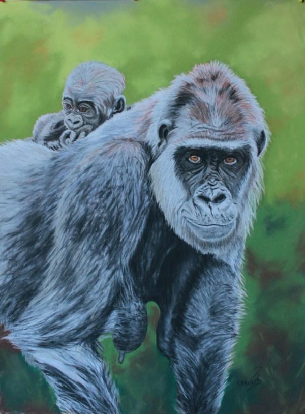Karine D_Maternité – gorille des plaines– pastel sec – format 30x40cm - encadré 200€ - non encadré 180€