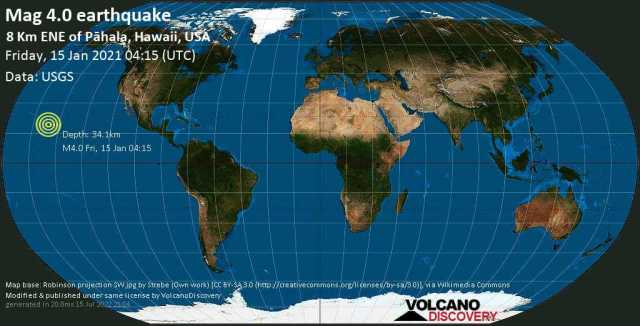 Mag. 4.0 earthquake  - 5.1 mi east of Pāhala, Hawaii County, USA, on Thursday, 14 Jan 2021 6:15 pm (GMT -10)