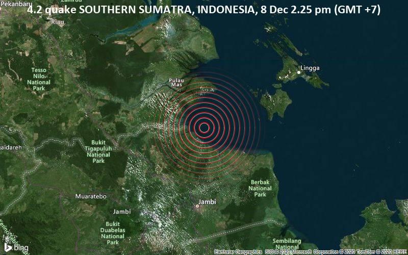 Leichtes Beben Der Starke 4 2 Nordostlich Von Kuala Tungkal Indonesien Volcanodiscovery