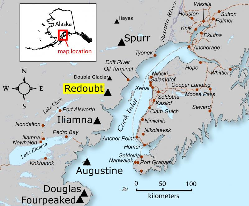 Location of Redoubt volcano and other Cook Inlet volcanoes with respect to nearby cities and towns.
