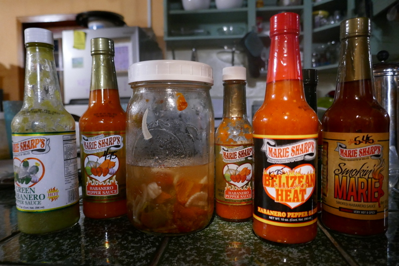 a selection of Marie Sharpe's famous hot sauces