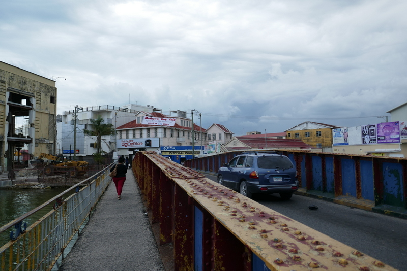 the swing bridge in Belize City