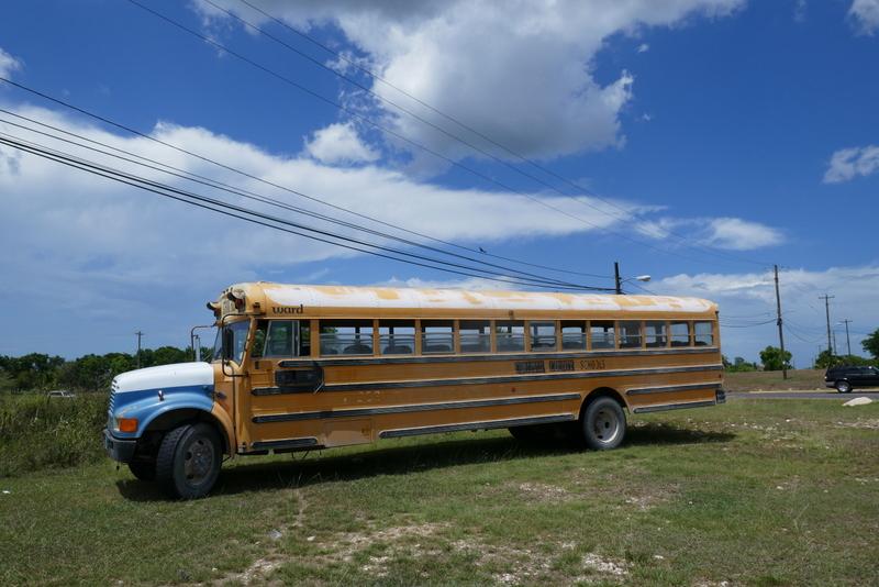 old American school bus in Belmopan