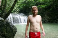 Tom in front of the final waterfall of Siete Altares, Livingston, Guatemala