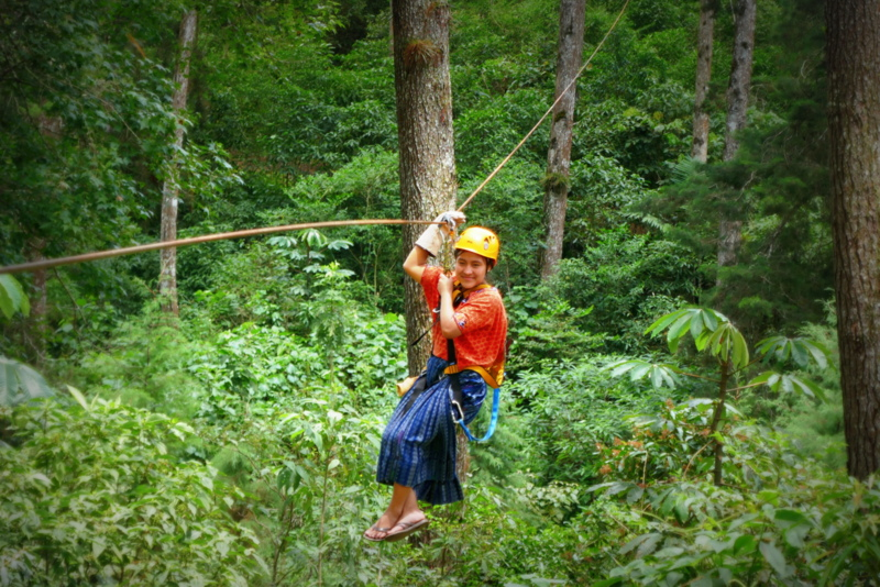 Maya lady ziplines in Chicoj.