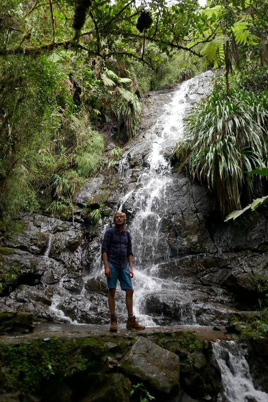 Tom in front of a waterfall in the cloud forest of Biotopo del Quetzal.