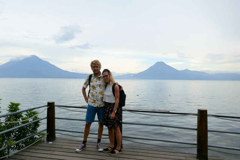 Tom and Anete in front of Lake Atitlán, volcano Atitlán and volcano San Pedro