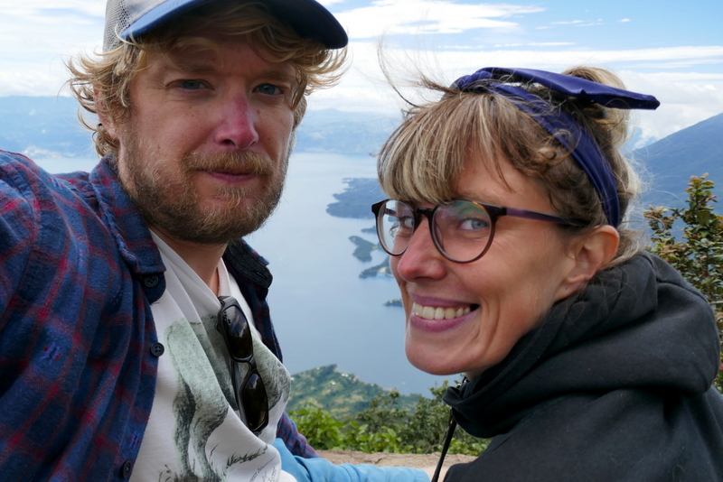 Tom and Anete on top of volcano San Pedro